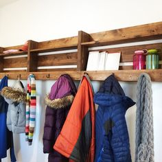 Check out this project on RYOBI Nation - This was such an easy project with huge impact! In less than an hour, we built this coat rack that has 8 feet of hooks, and 16 feet of shelving.  The hooks are perfect for coats, scarves, and anything else you can hang.  The enclosed shelving is big enough to fit a standard magazine, but is perfect for accessories and décor items too!  The top shelf is a handy spot to place phones, keys and wallets.