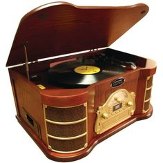 Pyle Home PTCDS2UI Classical Turntable - iPod CD/Cassette Player AM/FM Radio & USB Recording