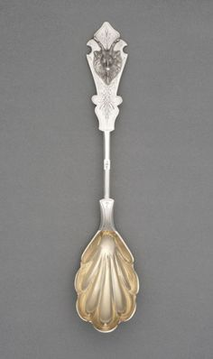 *1855-1870 American (Ohio) Serving spoon at the Philadelphia Museum of Art, Philadelphia - There's a very interesting contrast between the gilt and non-gilt silver here.