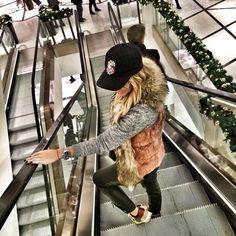 My style today @terezastore cap @robertocavalli fur vest @maisonvalentino sneakers pa ...  