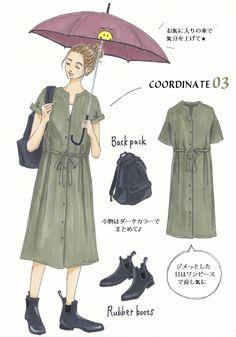 Instagramで今話題のファッションイラスト。大人気のイラストレーターSaekoさんが「今着たいユニクロアイテム」を使ったコーディネートを提案する連載、第3弾!今回は、間もなくやってくる梅雨の季節にぴったりな雨の日コーデをご紹介します。ベーシックアイテムをおしゃれに魅せるコーデ術は必見です!「さらりとした質感で軽やかな着心地のレーヨンシャツに爽やかなブルーのパンツを合わせて、雨の日でも気分爽快... Work Fashion, Teen Fashion, Fashion Looks, Fashion Ideas, Rainy Outfit, Fashion Painting, Korean Outfits, Japanese Fashion, Fashion Sketches