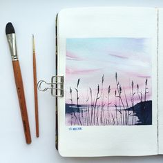 - Everything About Painting Watercolor Art Lessons, Watercolor Art Diy, Watercolor Art Paintings, Watercolor Projects, Gouache Painting, Watercolor Illustration, Painting & Drawing, Watercolor Landscape, Watercolors