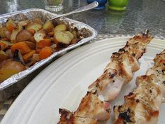 Chicken kabobs with buttermilk marinade and grilled potatoes and vegetables on the side - My Favourite Quick and Easy Summer BBQ Meal