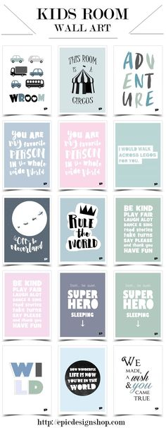 Modern posters / prints for nursery and kids room.  Pink wall decor for girls and blue / green art for boys. http://epicdesignshop.com