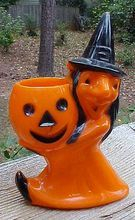 Witch Holding Pumpkin Halloween Candy Container - From Amazing Americana! on Ruby Lane