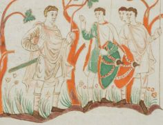 9th century (883-900) France, Soissons? St. Gallen (Switzerland), Stiftsbibliothek  Cod. Sang. 22 - Golden Psalter (Psalterium aureum) of St. Gallen / Psalterium Gallicanum p.147 - illumination to the Psalm 62; David and three warriors in the desert of Edom  http://www.e-codices.unifr.ch/en/list/one/csg/0022