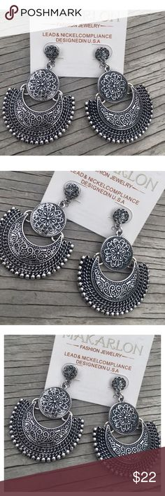 Restocked- Silver Bohemian Earrings This listing is for a pair of silver plated bohemian earrings. Nickel and lead compliant. Brand new! Jewelry Necklaces