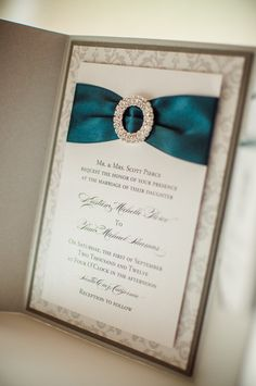 Ribbon & Buckle Formal Wedding Invitation in by PennyAnnDesigns, $8.00