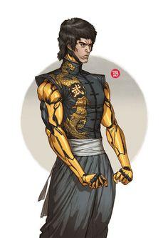 Iron Bruce Lee by Woo Kim on ArtStation. Character Concept, Character Art, Concept Art, Character Design, Arte Cyberpunk, Cyberpunk 2020, Cyberpunk Character, Ex Machina, Sci Fi Characters