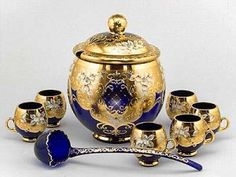 bohemian punch bowl sets | Bohemian Hand Painted Punch Bowl Set. Cobalt Glass, Gold Glass, Cut Glass, Cobalt Blue, Bohemia Glass, Punch Bowl Set, Antique Lamps, Carnival Glass, Vintage Items