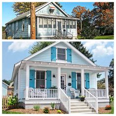 Before and after curb appeal.  Restore and open up porch.  Add dimension and interest.
