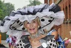 And she's back! Racing fan Florence Claridge from Dover arrives for a third day of racing at Royal Ascot, this time in a monochrome ensemble enlivened with huge polka dots