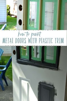 New metal front door makeover diy ideas Painted Exterior Doors, Exterior Door Trim, Painted Front Doors, Exterior Paint, Diy Exterior, Exterior Colors, Exterior Design, Front Door Trims, Glass Front Door