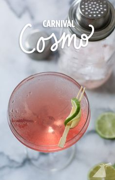 What has cranberry juice, limoncello and lime garnish? A Carnival inspired cosmo, that's what! Here's how to make it.