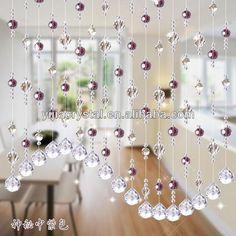 38 Charming and Cheap Crystal Door Curtain Beads Ideas Beaded Curtains Doorway, Swag Curtains, Boho Curtains, Hanging Door Beads, Hanging Crystals, Diy Hanging, Bamboo Curtains, Crystal Curtains, Modern Curtains