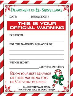 just in case A Cute Christmas Elf Warning Letter and/or a Personalized Letter From Santa for the little ones in your life! All Things Christmas, Winter Christmas, Christmas Holidays, Christmas Crafts, Christmas Ideas, Xmas Elf, Christmas Letters, Happy Holidays, Father Christmas
