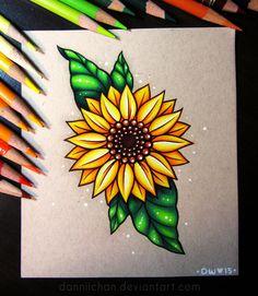 Sunflower - commission by dannii-jo on drawing in 2019 sanat çi Pencil Art Drawings, Art Drawings Sketches, Cute Drawings, Sketch Drawing, Drawing Art, Pencil Drawings Of Flowers, Horse Drawings, Tattoo Sketches, Sunflower Drawing