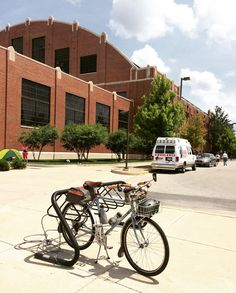 """My steed hitched to a post in front of Hinkle Fieldhouse at Butler University. It's a great venue for basketball made famous in the movie """"Hoosiers."""""""