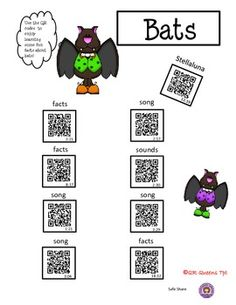 BATS, BATS, BATS USING QR CODES - K-2 $ Great for integrating technology into science and literature. Kid tested and they LOVE it!