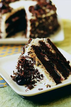 Recipe for Black Forest Cake.    You can't eat just one piece of this cake...