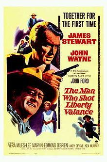 """The Man Who Shot Liberty Valance is a 1962 American Western film directed by John Ford starring James Stewart and John Wayne. The black-and-white film was released by Paramount Pictures. The screenplay by James Warner Bellah and Willis Goldbeck was adapted from a short story written by Dorothy M. Johnson.    In 2007 the film was selected for preservation in the United States National Film Registry by the Library of Congress as being """"culturally, historically, or aesthetically significant""""."""