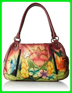 Anuschka Anna by Handpainted Leather Ruched Large Satchel, Mediterranean Garden - Top handle bags (*Amazon Partner-Link)