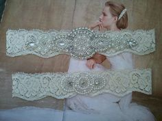SALE  Wedding Garter Set  Pearl and by LucyBridalBoutique on Etsy