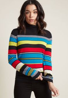 Old School Striped Turtleneck Sweater in XXS - Long Pullover Waist by ModCloth