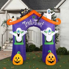 halloween inflatable lawn decoration inflatable 9 x 85 archway ghost house new gemmy - Halloween Inflatable Yard Decorations