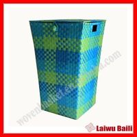 Source PP handmade woven plastic laundry basket with lid on m.alibaba.com