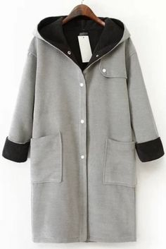 Grey Hooded Long Sleeve Pockets Woolen Coat