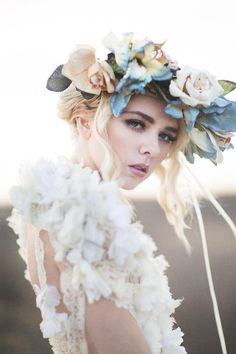 By Emily Soto material girl magazine | Styling Cara Bloom Me So Savvy | Makeup/Hair @Tammy Yi | Model Shawnee Badger | Gown by Michelle Hebert | Art & Fashion | Flowers by Flower Gypsies