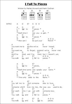 I Fall to Pieces - Lyrics & ukulele chords Song Lyrics And Chords, Cool Ukulele, Guitar Chords For Songs, Guitar Sheet Music, Music Chords, Guitar Chord Chart, Ukulele Songs, Guitar Lessons, Music Lyrics