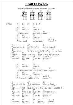 Lyrics & ukulele chords I Fall to Pieces