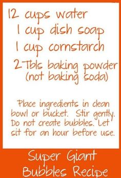 super giant bubble recipe by caroline