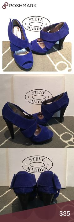Steve Madden Blue Suede Open Toe Strap Platform Never worn Steve Madden Blue Suede Open Toe Strap Platform. Sz 7 1/2. Platform: 1 inch, heel height total 4 inches. Feel free to contact me for more pictures or questions. Steve Madden Shoes Platforms
