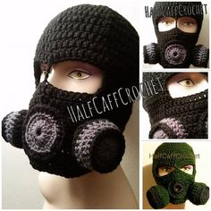 Ravelry: Gas Mask pattern by Amy Herring Quick Crochet, Unique Crochet, Free Crochet, Knit Crochet, Half Double Crochet, Single Crochet, Crochet Flower Patterns, Knit Patterns, Crochet Ideas