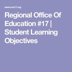 Regional Office Of Education #17 | Student Learning Objectives