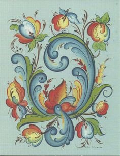 Rosemaling. I bought a hand painted wooden plate up north, the rosemaling is similar. Wish I'd bought the whole set while I was there!