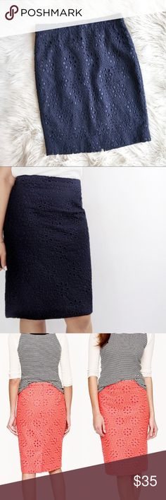 """J. Crew Factory Pencil Skirt Pinwheel Eyelet a516 J. Crew Factory The Pencil Skirt Pinwheel Eyelet In excellent condition. Fully lined with concealed zipper in back. Eyelet overlay with floral motif. Navy blue. Size 2. Waist - 14.75"""", length - 21"""", hip - 18"""". J. Crew Factory Skirts Pencil"""