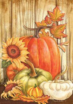 Custom Decor Pumpkins on Barnwood Polyester x Garden Flag Fall Canvas Painting, Autumn Painting, Autumn Art, Painting On Wood, Autumn Leaves, Fall Paintings, Painting Pumpkins, Fall Garden Flag, Autumn Garden