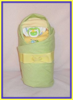 GORGEOUS Baby Shower Centerpiece 21 Piece Swaddled Diaper Baby