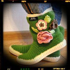 Crochet Boots -Uki-Go Green-Pink-Crochet Boots for the street Summer Outdoor Boots Summer-Spring-Fall Boots Made to Order Spring Boots, Summer Boots, Spring And Fall, Fall Boots, Crochet Boots, Knit Boots, Knitted Slippers, Slipper Socks, Shoe Pattern