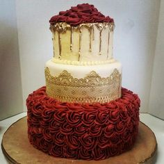 But blue tho Bridal shower cake. Maroon rosettes, cake lace and gold chocolate drip. FB/Cakes by msvickie Beautiful Cakes, Amazing Cakes, Quince Cakes, Quinceanera Decorations, Quinceanera Party, Quince Decorations, Sweet 16 Cakes, Gold Cake, Gold And White Cake