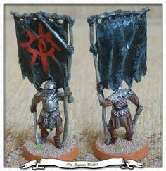 Orc Banner Bearer from Games Workshop - Lord of the Rings serie metal miniature painted with Revell emails Orc Banner Bearer Ring Game, Battle Games, Tabletop, Miniture Things, Middle Earth, Lord Of The Rings, Tolkien, Lotr, The Hobbit