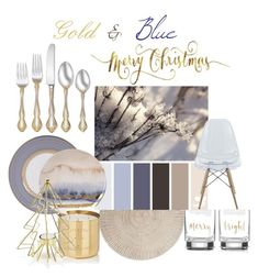 """""""Gold & Blue Christmas"""" by maelys-taupier ❤ liked on Polyvore featuring interior, interiors, interior design, home, home decor, interior decorating, Kate Spade, Wedgwood, Tom Dixon and Oneida"""