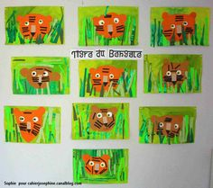 We could put attach velcro so the board could be attached to a wall in the hall, then children can play while classes are waiting. Preschool Art Projects, Projects For Kids, Crafts For Kids, Jungle Art, Jungle Animals, Preschool Jungle, Jungle Theme Classroom, Rainforest Theme, Tiger Crafts