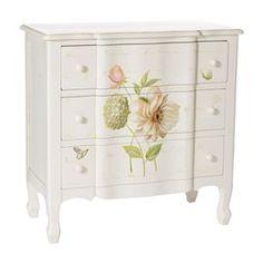Cómoda de 80 cm de ancho, color crema y con motivos de flores en madera de abeto Preciosa!