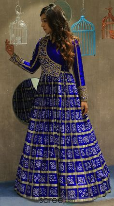 Dark blue bandhej traditional floor lenght gown Designer Party Wear Dresses, Kurti Designs Party Wear, Indian Designer Outfits, Bandhani Dress, Choli Dress, Lehenga Designs Latest, Indian Gowns Dresses, Indian Fashion Dresses, Party Wear Lehenga