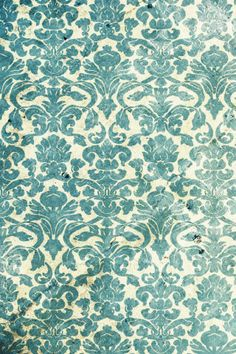 Teal and beige vintage wallpaper